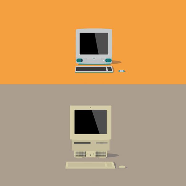 Mac,Apple,дизайн,иллюстрации, Иллюстрации всех когда либо выпущенных Макинтошей в минималистическом стиле