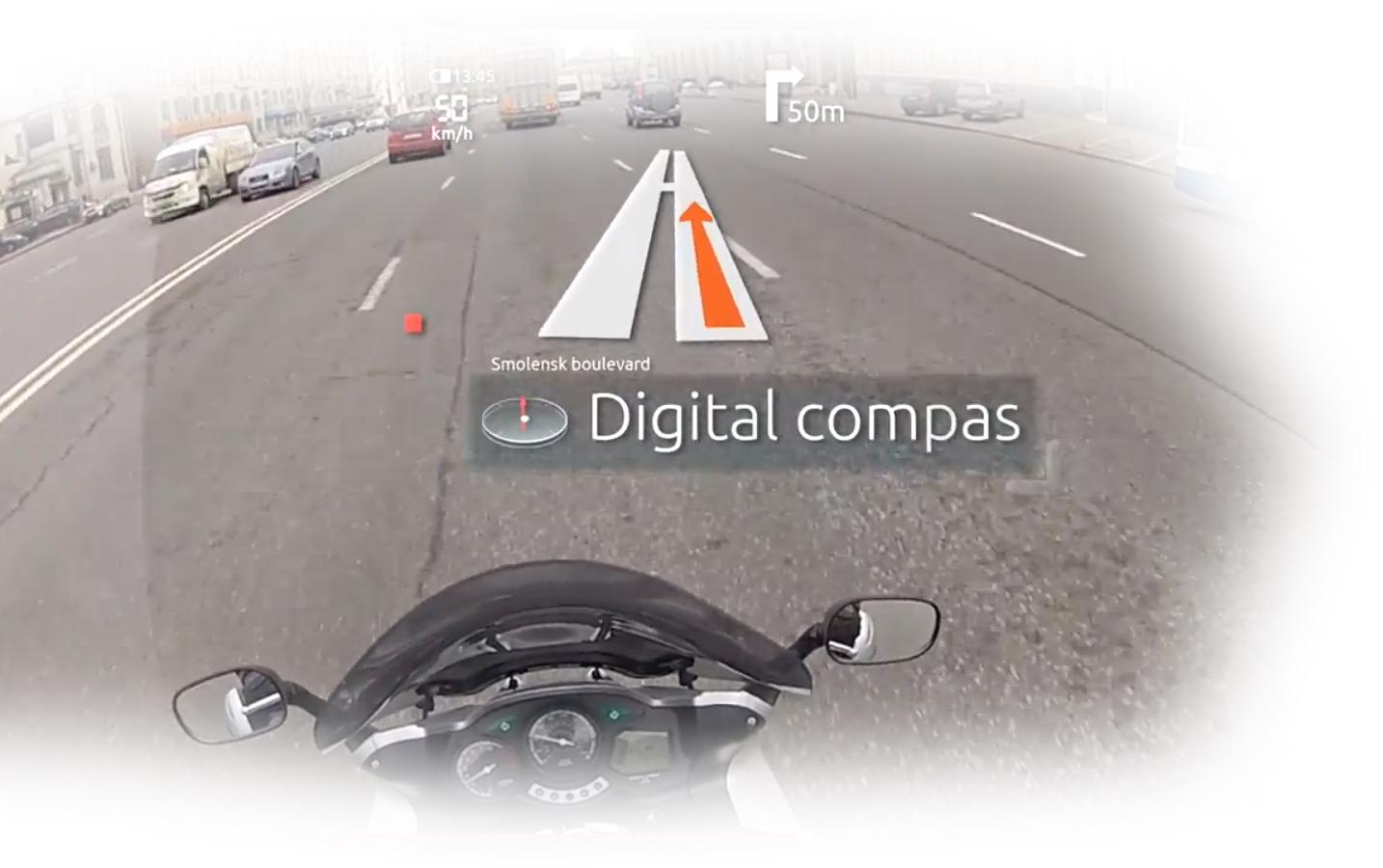 Вид из шлема мотоцикла