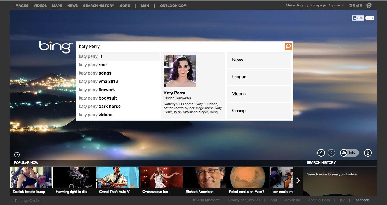 Katy Perry поиск bing результат