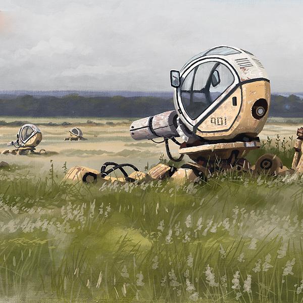 будущее, роботы, иллюстрация, Невероятно завораживающий футуризм в работах Саймона Стэленхага