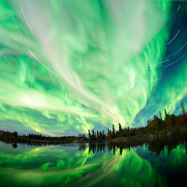 Земля, полярное сияние, Швед создал интерактивную видео-панораму северного сияния