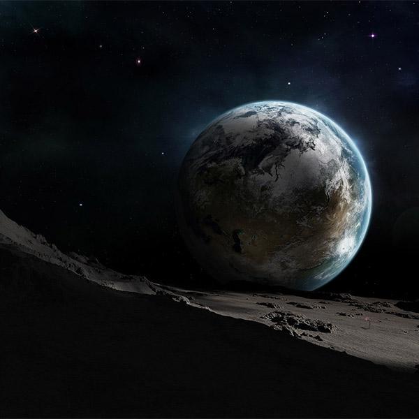 Луна, Земля, Космос, Gif, Как выглядит  восход Земли на Луне