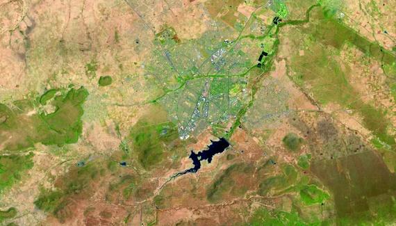 Габороне, Ботсвана, фотография сделана с орбиты спутником Landsat 8