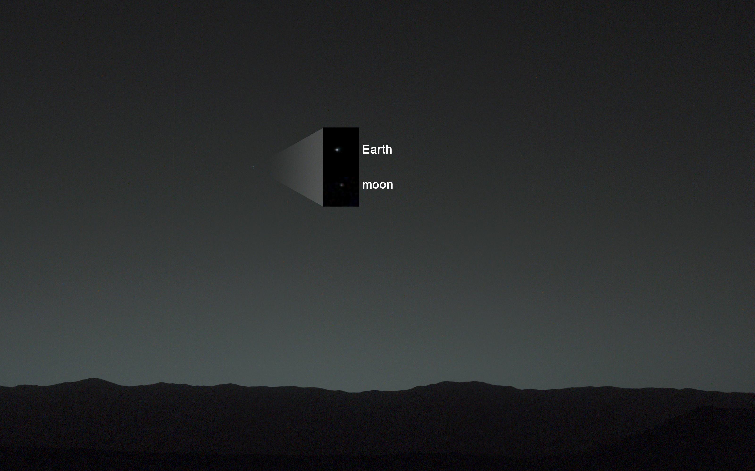 Земля Луна вид с Марса обработанная фотография