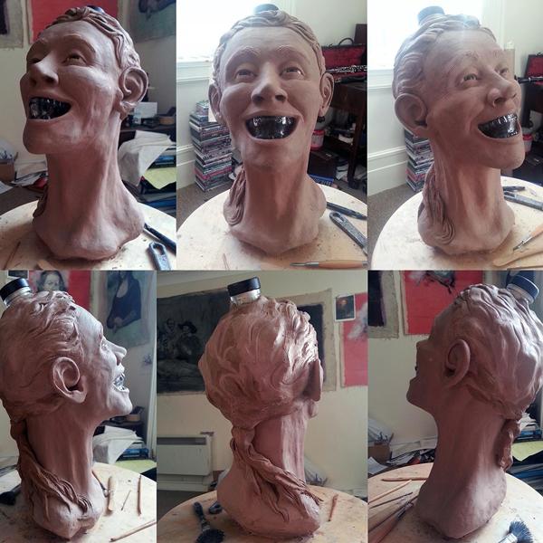 реконструкция,восстановление,лицо, Художник создает лицо на бутылке водки в форме черепа