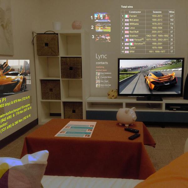 Microsoft, SurroundWeb, IllumiRoom, 3D-браузер SurroundWeb для проекции сайтов на стены от Microsoft