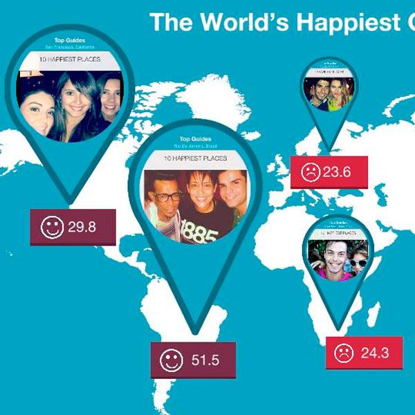 instagram, аналитика, big data, Где живут счастливые люди?