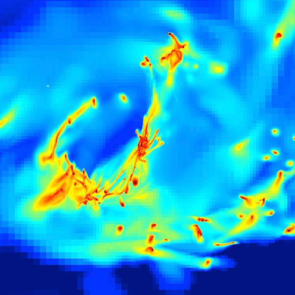 галактика,звездообразование, Рождения звезд в условиях турбулентности сливающихся галактик