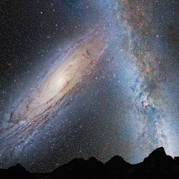 Вселенная, космос, Млечный Путь, Андромеда, Андромеда и Млечный Путь: слияние двух гигантов