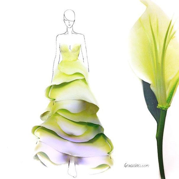 Модный иллюстратор превращает лепестки цветов в великолепные платья