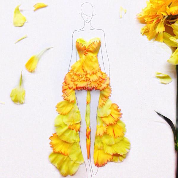 мода,иллюстрация, Модный иллюстратор превращает лепестки цветов в великолепные платья